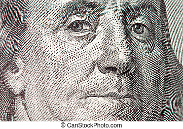 Benjamin Franklin macro from $100 dollar bill. Very lage...