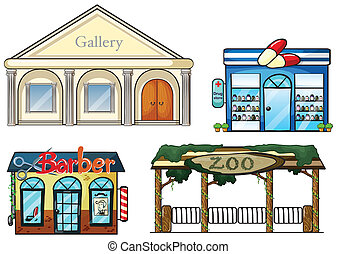 A gallery, drug store, barber shop and zoo - Illustration of...