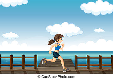 A young woman jogging - Illustration of a young woman...