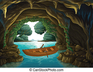 A boat in the cave - Illustration of a boat in the cave