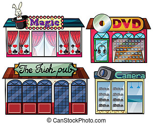 Amusement area, dvd and camera shop - Illustration of a...