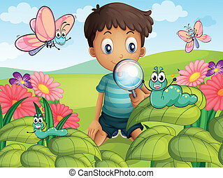 A little boy in the garden - Illustration of a litte boy...