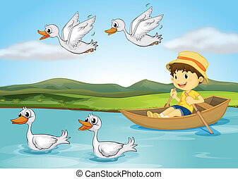 Ducks and a kid - Illustration of a kid on a boat and flying...