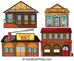 English pub, Korean restaurant, pawnshop and fire station -...