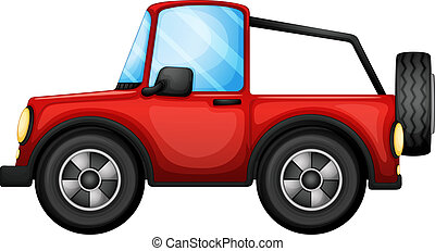 A red car - Illustration of a red car on a white background