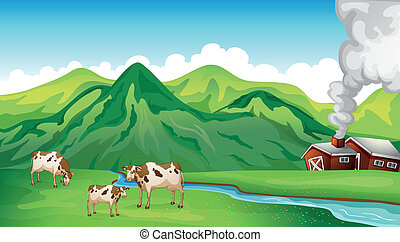 A farm house and cows - Illustration of a farm house and...