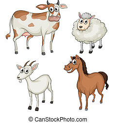 Farm animals - Illustration of farm animals on a white...