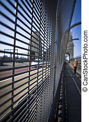 Foot path on Sydney Harbour Bridge - A stock photo of the...