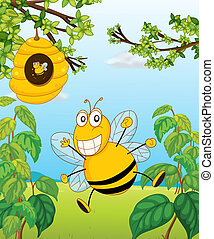 A bee and a beehive - Illustration of a bee and a beehive in...
