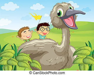 Two boys at the back of a big bird - Illustration of two...