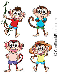 Four giggling monkeys - Illustration of four giggling...