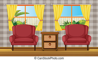Colorful living room - Illustration of a colorful living...