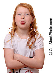 Naughty girl - Portrait of a naughty young girl on white...