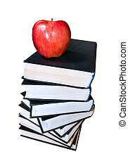 Red apple on the book stack
