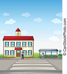 School and bus stop - Illustration of a school and bus stop...