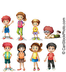 Group of kids - Illustration of a group of kids on a white...