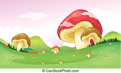 Big and small mushrooms - Illustration of big and small...