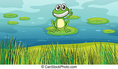 A smiling frog in the pond - Illustration of a smiling frog...