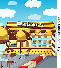 A bakery store - Illustration of a bakery store under a...