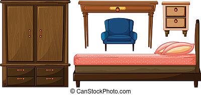 Bedroom furnitures - Illustration of bedroom furnitures on a...