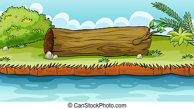 A big trunk beside the pond - Illustration of a big trunk...