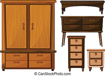 Furnitures made of wood - Illustration of furnitures made of...