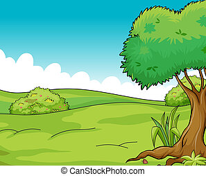 Clean and green view - Illustration of a clean and green...