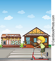 Kids, bakery and pub - Illustration of children playing...