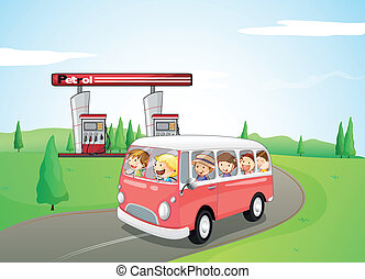 Children riding on a bus