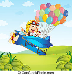 Kids on the plane with balloons - Illustration of two kids...
