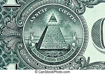 Pyramid on One Dollar Bill macro