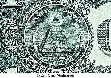 piramide, um, dólar, conta