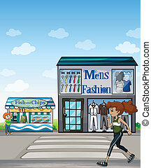 Jogger and stores - Illustration of a jogger, fish and chips...
