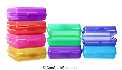 Stack of Plastic Containers on White Background