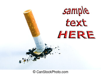 Cigarette butt isolated over white - stop smoking concept