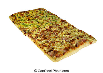 aislado, grande, rectangular, pizza