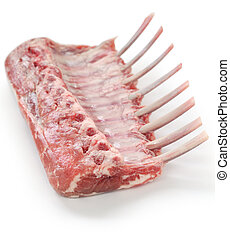 frenched rack of lamb - on a white background