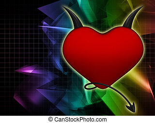 Devil heart on an abstract background