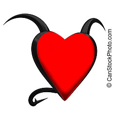 Devil heart on a white background