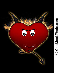 Devil heart on a black background