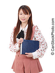 young Asian woman holding a book isolated on white...