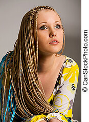 woman with braids - blond woman with the braids on a white...