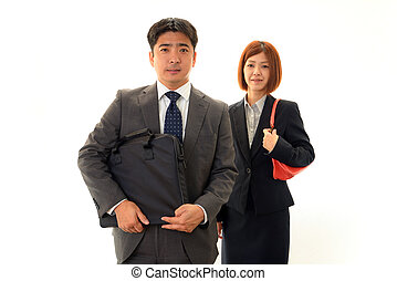 Smiling business man and woman
