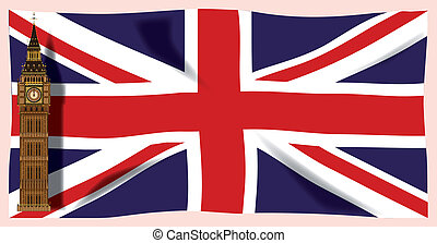 The Union Flag with Big Ben - The British Union Flag, or...