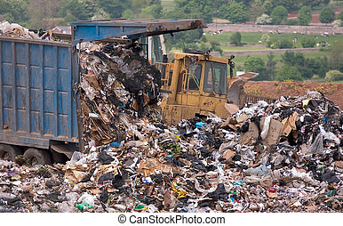 Garbage dumped on landfill site