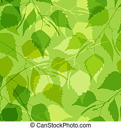 Seamless pattern with green birch leaves