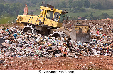 Bulldozer on a landfill site
