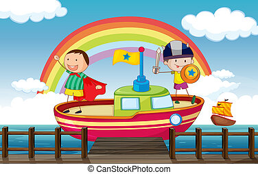 Kids playing in the ship - Illustration of kids playing...