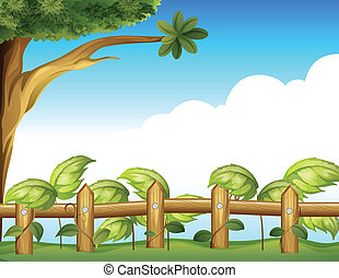 Vine plant in a fence - Illustration of a vine plant in a...