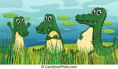 Scary dinosaurs - Illustration of three scary dinosaurs